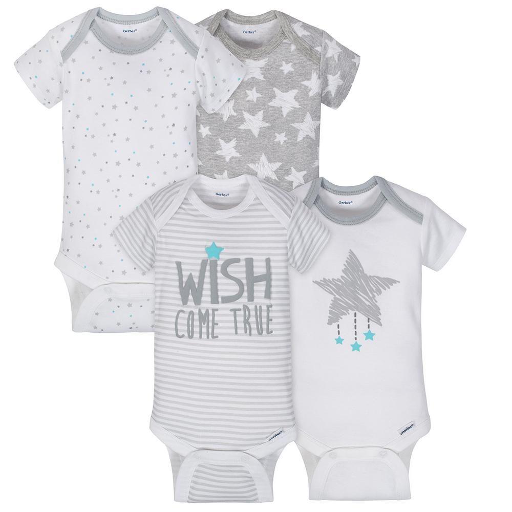 Gerber Unisex-Baby Unisex Baby 4-Pack Short-Sleeve Onesies Bodysuits Shirts