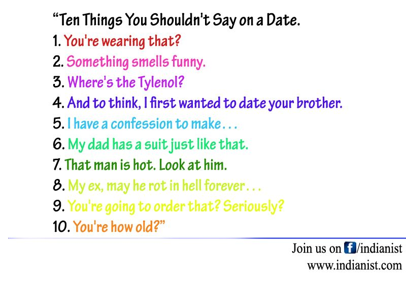Date Things First To Say On Your