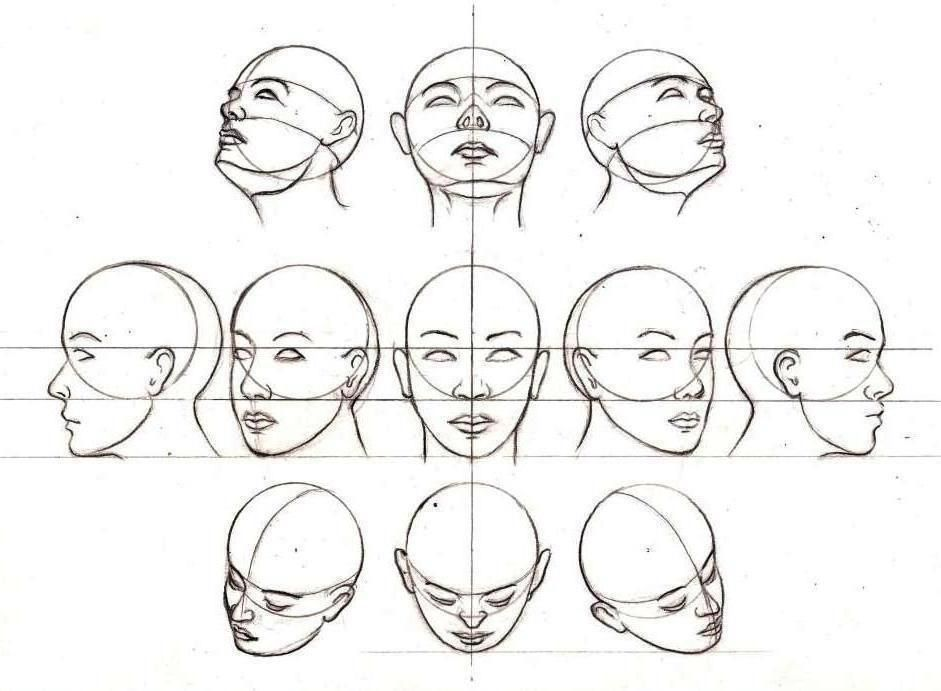 Head positions art techniques instructions pinterest for How to draw a girl looking down