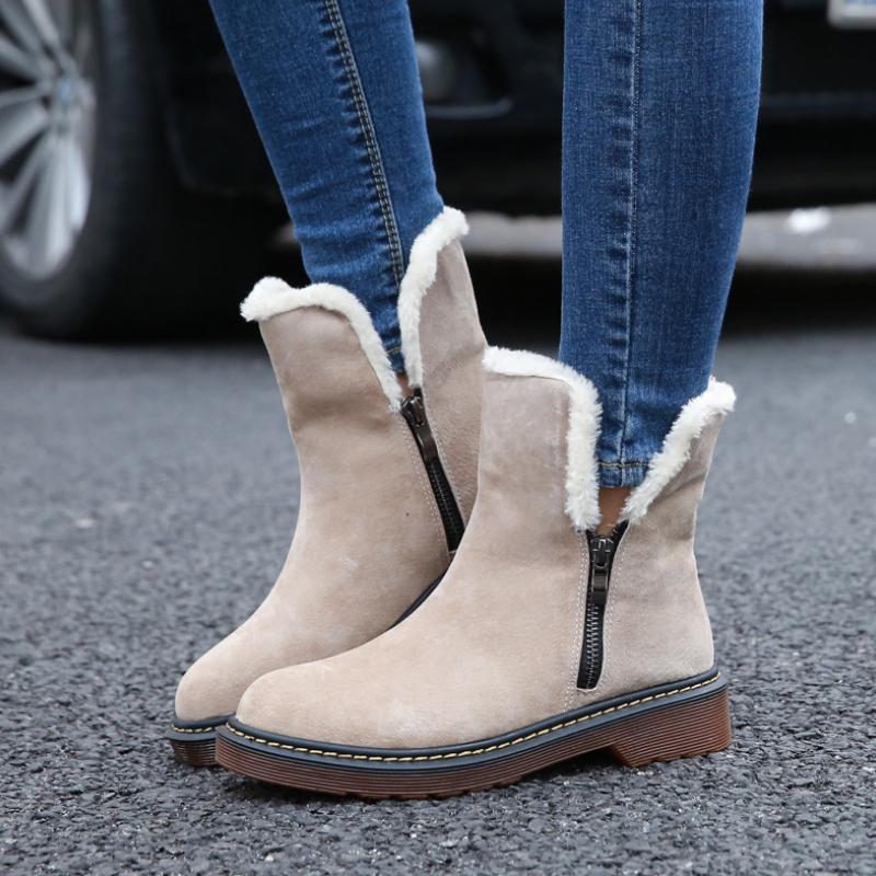 2017 New Autumn Winter Boots Leather Suede Women Flat Snow Boots warm plush Female Shoes Plus size 4.5