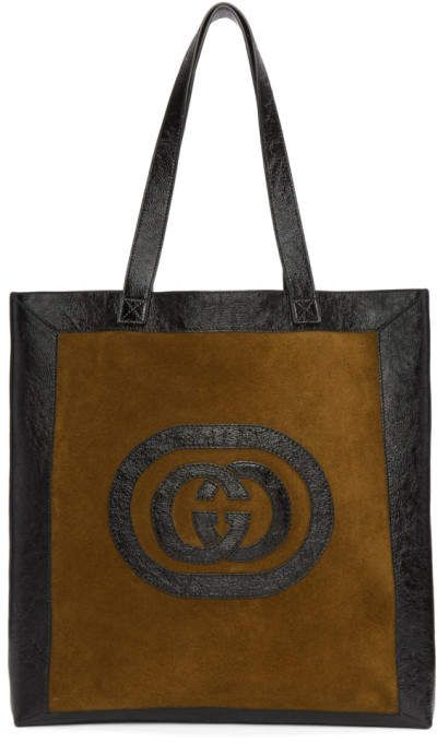 Gucci Brown and Black Large Suede Ophidia Tote   Gucci, Brown and ... 1d41f82b7c
