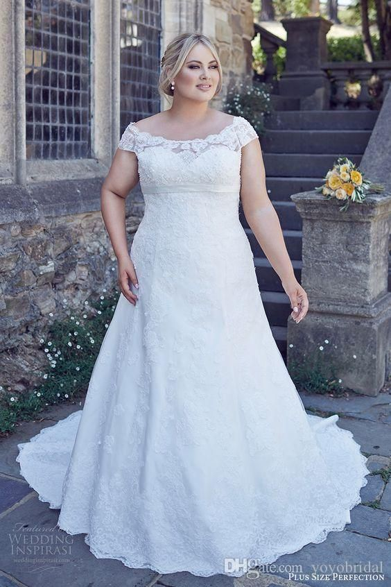 Classic Plus size Wedding Dress Cap Short Sleeves Lace Bodice A line ...