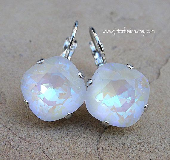 a5af9d023 Ultra White AB Swarovski Crystal Lever Back Statement Earrings, Big White  Aurora Borealis Cushion Cut Crystal Iridescent Bridesmaid Earrings
