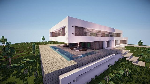 fusion modern concept mansion minecaft house design 2 | minecraft