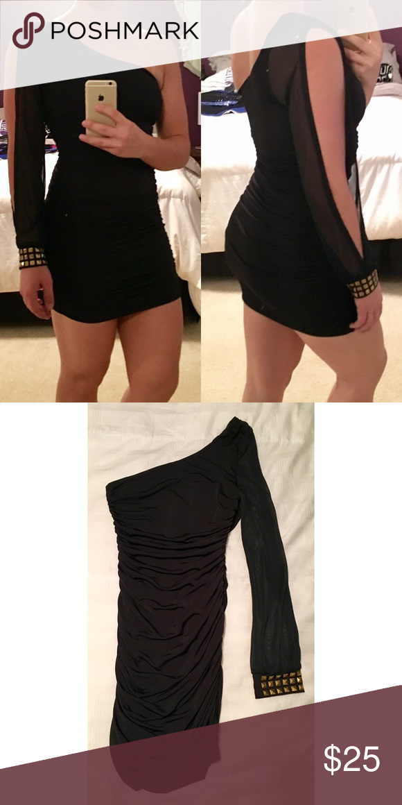 24a6a92d172 Little black dress One shoulder mini black dress with gold studs on cuff.  Rouching on both sides, stretchy fabric. Dresses Mini