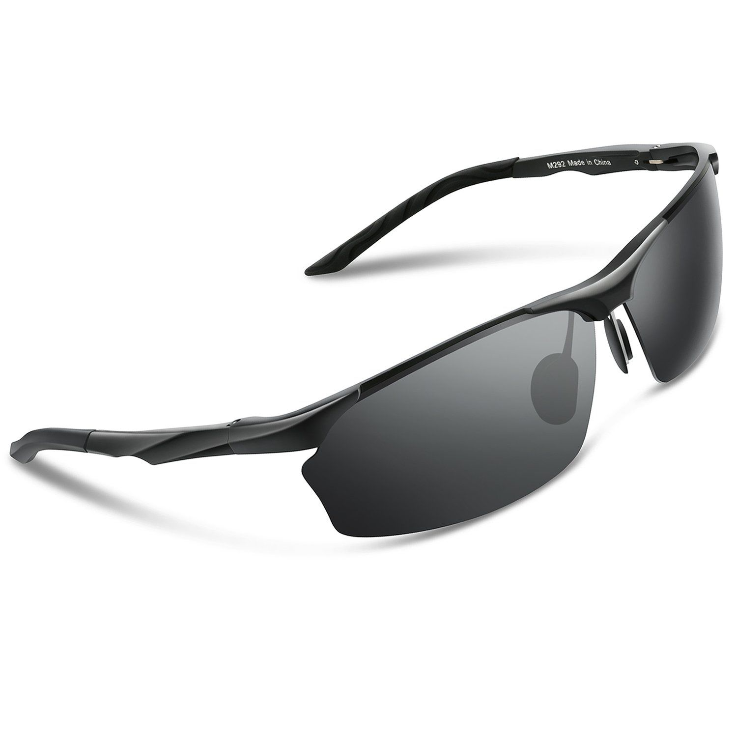 80f08d83fa Torege Men s Sports Style Polarized Sunglasses For Cycling Running Fishing  Driving Golf Unbreakable Al-Mg Metal Frame Glasses M292 (Black Grey lens).