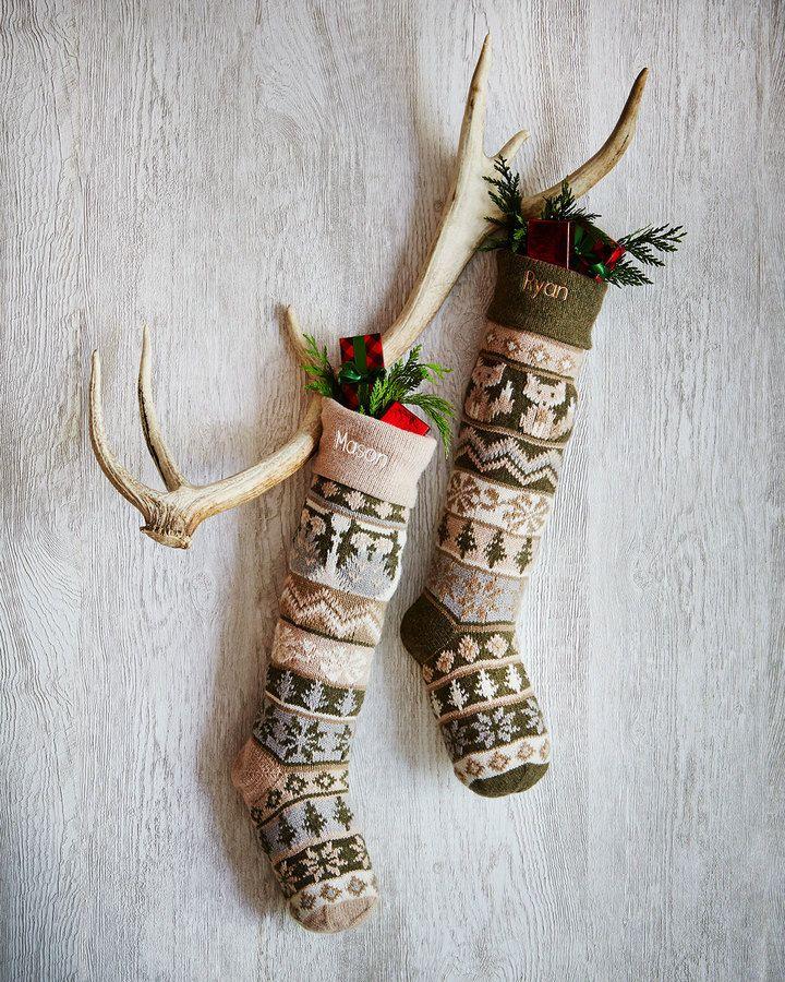 Owl  Fox Knit Christmas Stockings Christmas Crafts  DIY  Decor