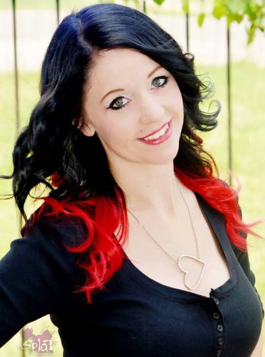 Jet Black Hair With Red Ombre Splat Dye
