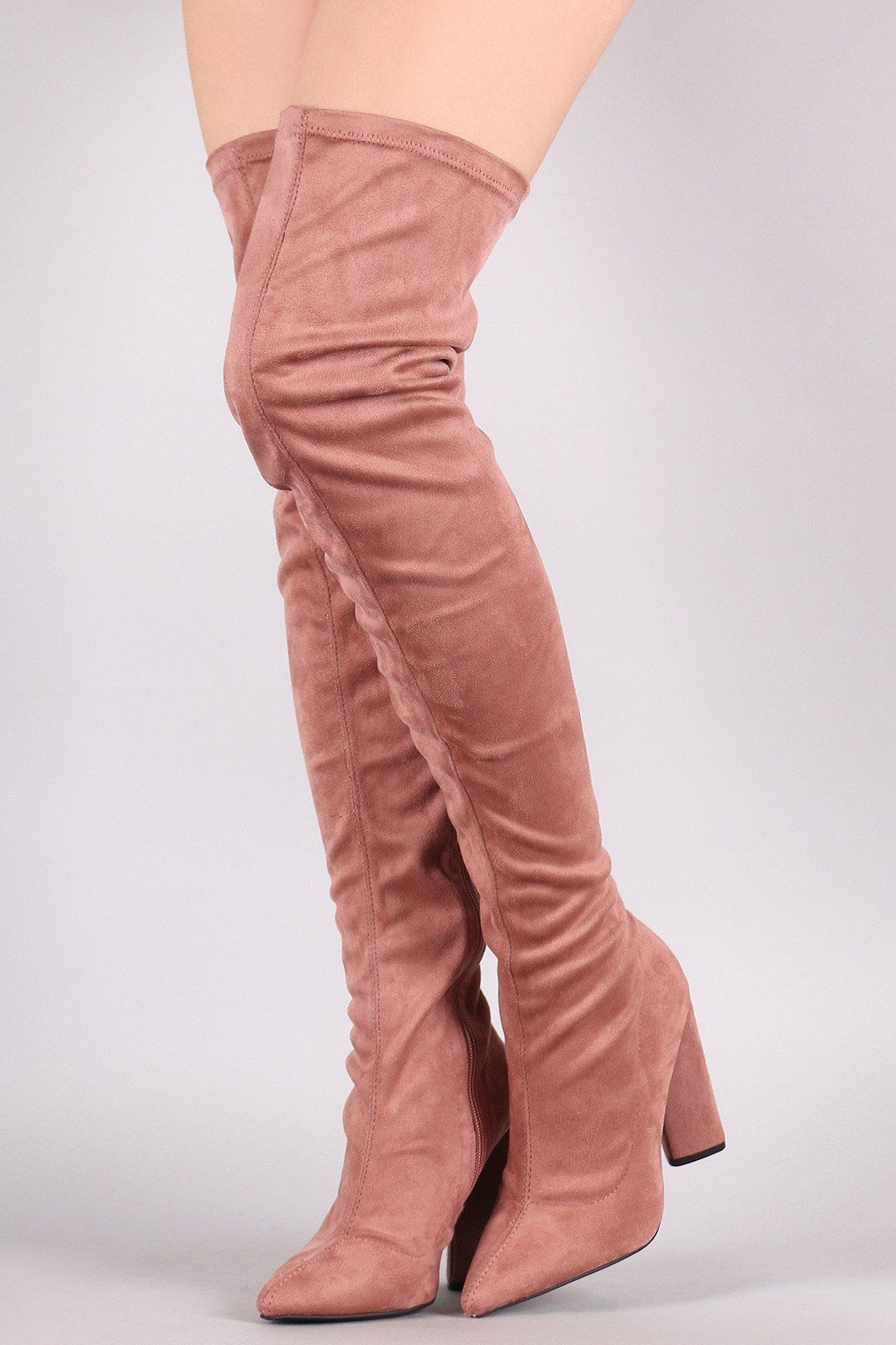 24e44995dd7 Qupid Suede Pointy Toe Chunky Heeled Over-The-Knee Boots