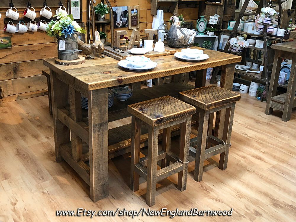 Rustic And Charming Kitchen Island With Matching Bar Stools This