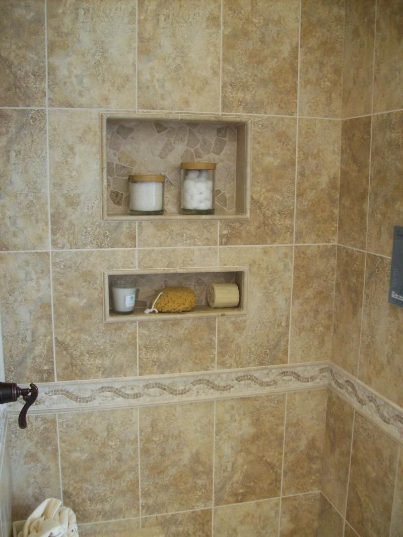 Simple Built In Shower Shelves For Storing Bath Supplies Such As Soap Shampoo Hair Conditioner Etc Shower Shelves Shower Tile Brown Tile Shower