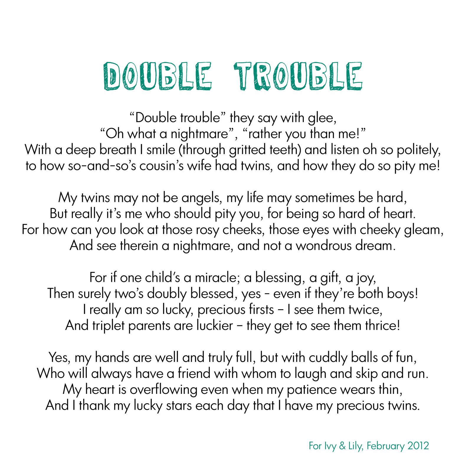 Double Trouble twins poem x | twins | Twin quotes, Twin toddlers