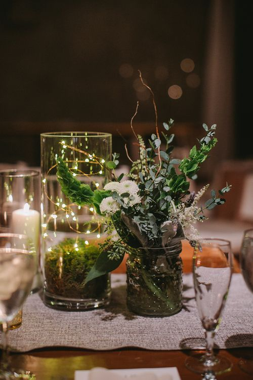 And Modern Wedding Centerpiece With Candles Moss Fairy Lights