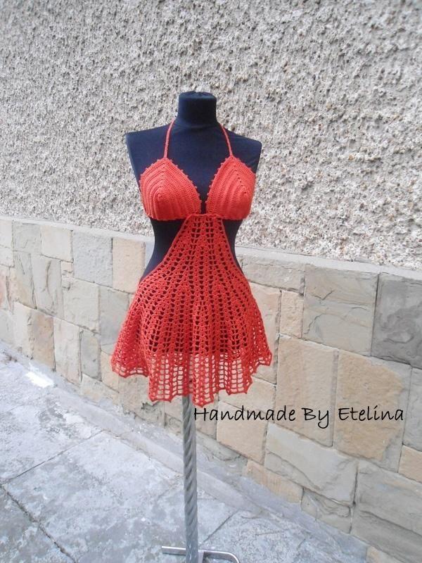 Crochet Beach Cover Lady, Crochet Resort Cover up, Summer Crochet Bikini Top, Crochet Swimwears - Crochet creation by etelina