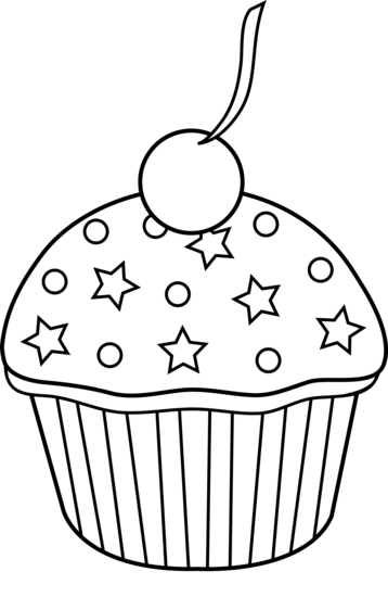 Cute Colorable Cupcake Design Free Clip Art Cupcake Coloring Pages Cupcake Outline Clip Art