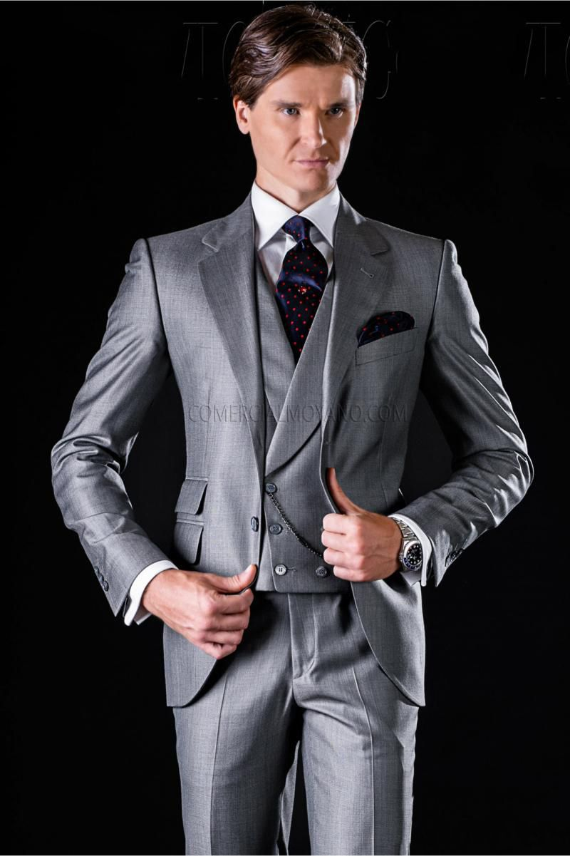 Light Grey Tuxedos with Double Pockets mens Suits for Wedding Custom ...