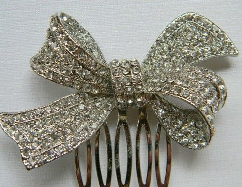 rhinestone bow hair comb
