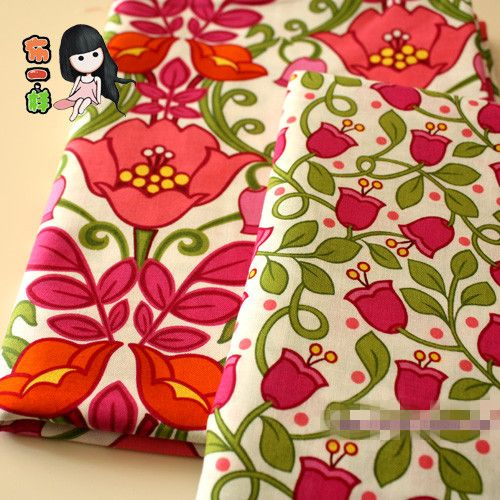 150*50CM 2PCS Tulip Floral Printed 100 Cotton VB Sewing Cloth for Quilting Patchwork Upholstery Fabric Online Wholesale