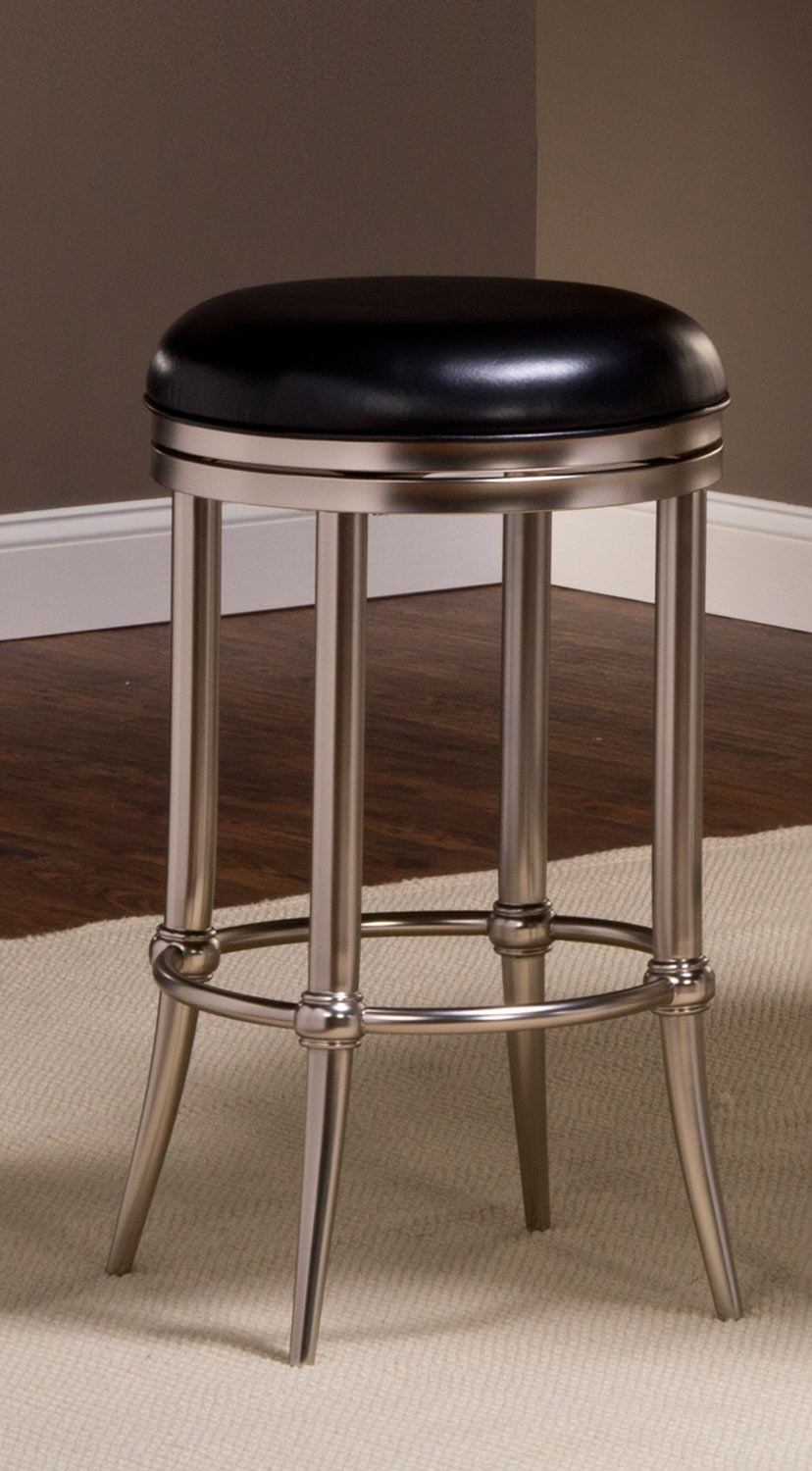 Hillsdale Cadman Backless Bar Stool Black Vinyl Dull Nickel With Images Bar Stools Backless Bar Stools Stool