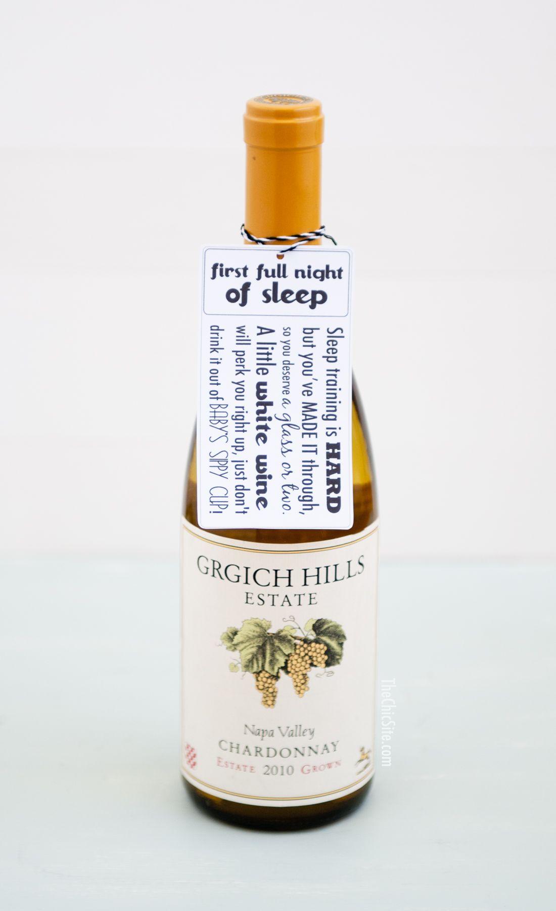 wine wedding shower gift poem%0A Grgich Hills Estate Napa Valley Chardonnay White Wine Tag for Baby Shower  Gift