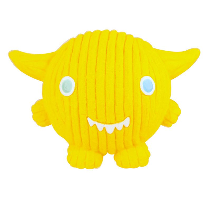 Who said monsters have to be scary? HuggleHounds Ruff-Tex Monstah toys are beyond adorable! Ruff-Tex toys have thicker walls than most squeaker toys, and they can stand up to light or medium chewers. This smiling Lemondrop Kid monster is made of flexible 100% natural rubber, so he's durable and stretchable, and he's stuffed with non-toxic, environmentally friendly foam. And did we mention he's got an awesome squeaker, too? Bring on the fun!