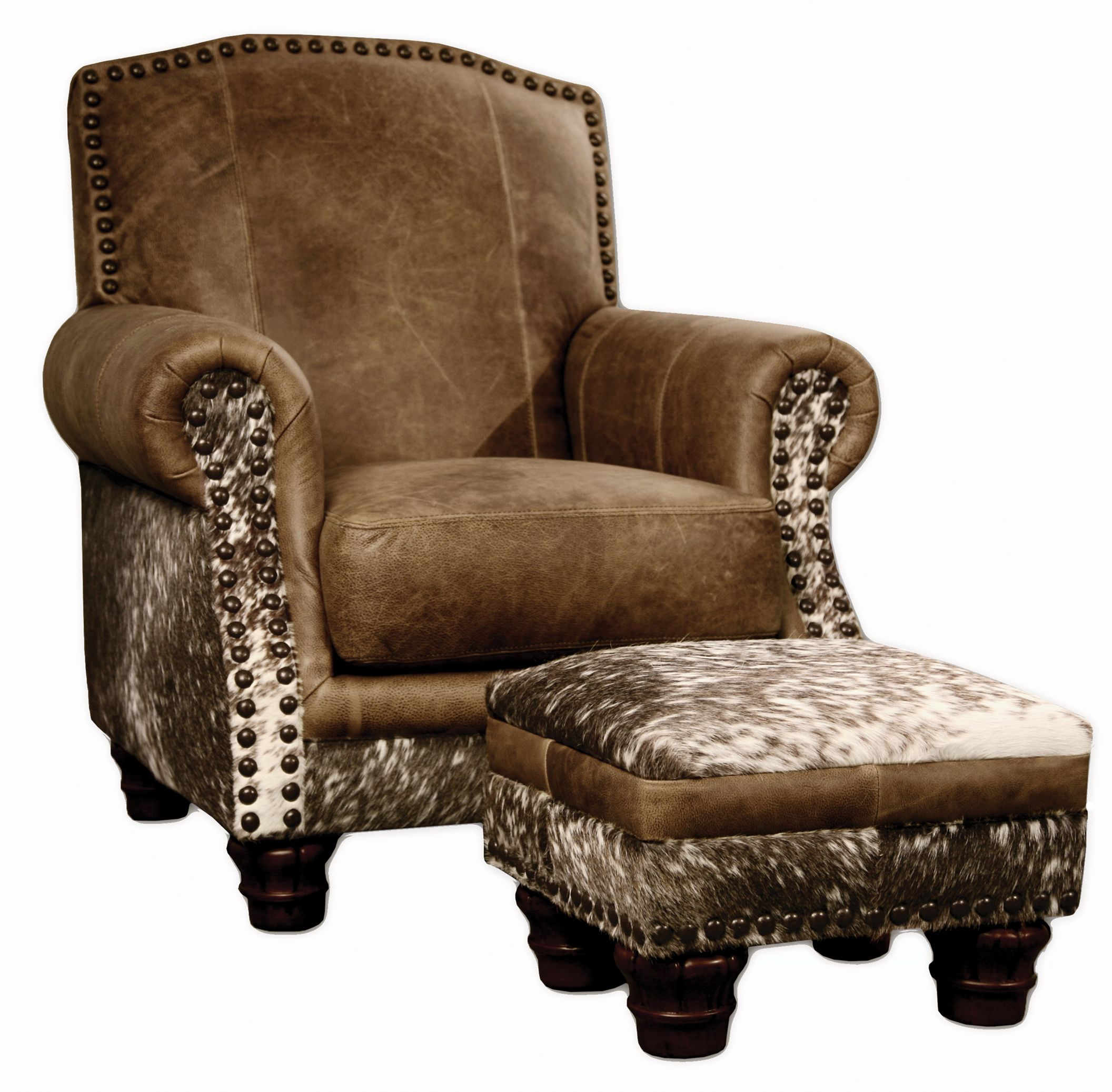 HairOnHide leather chair & ottoman (and somwhere a vegan