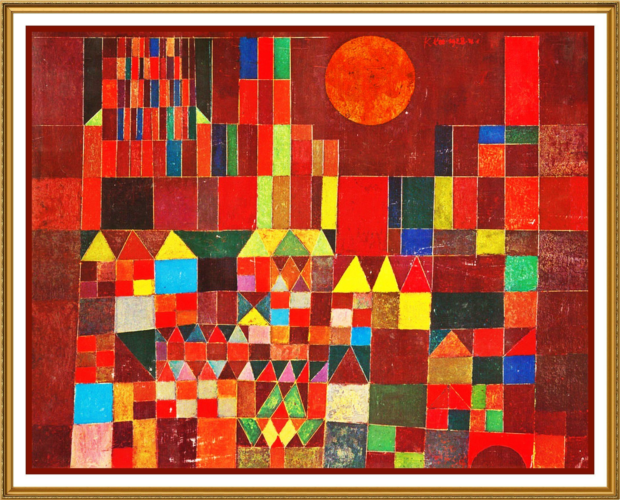 The Castle And Sun By Expressionist Artist Paul Klee Counted Cross