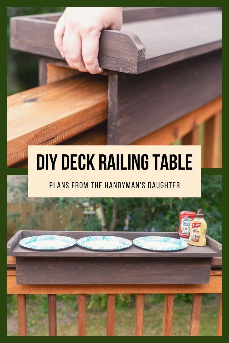 DIY Balcony Railing Table with Free Plans is part of Diy deck, Diy wood projects, Woodworking plans free, Wood diy, Home diy, Woodworking plans - This balcony railing table is genius! Add extra serving space near the grill or add an outdoor bar with this simple deck railing table! Get the free plans!