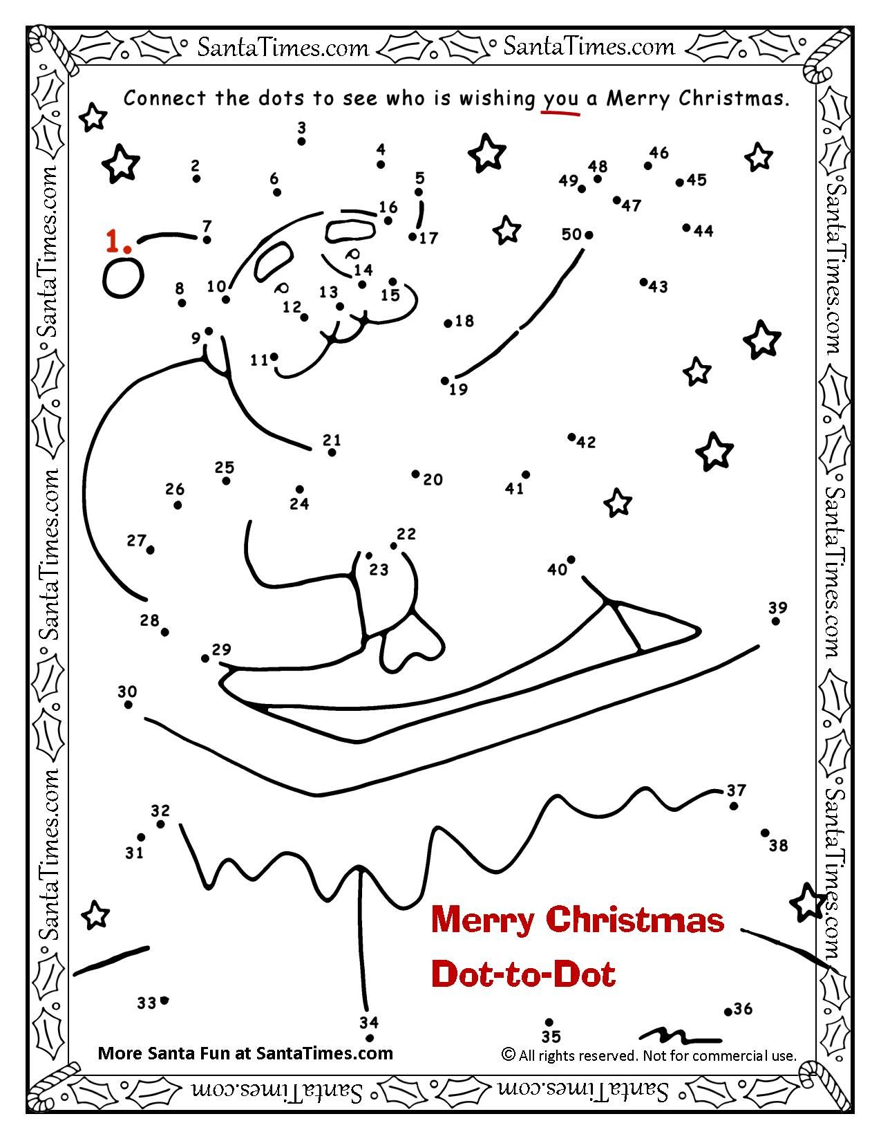 Merry Christmas Dot To Dot Connect The Dots To See Who Is Wishing You A Merry Christmas