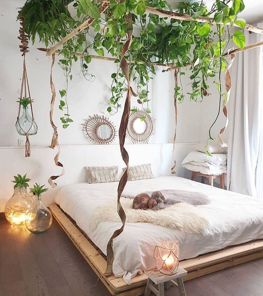 Who Sleeps Under A Canopy Of Plants Rises With Joy And Happiness In The Heart By Zebodeko Ur Home Decor Bedroom Inspirations Bohemian Bedroom Decor