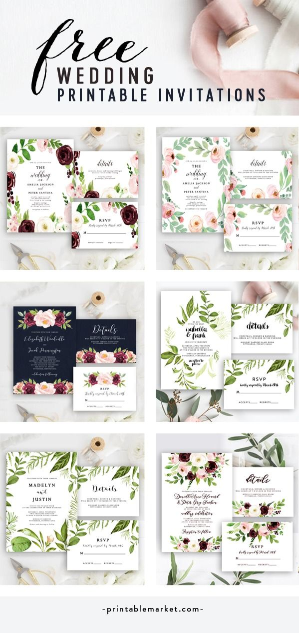 Free Printable Wedding Invitations  Edit instantly in your browser, download and print at home! Includes Invitation, RSVP and Details Card  is part of Free printable wedding invitations -