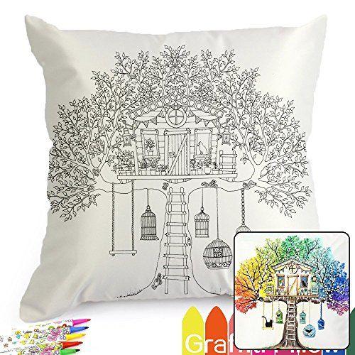 Fastness Treehouse DIY Coloring Pillowcase Decoration, 18... | art ...
