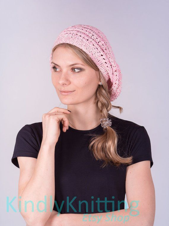4d537679e2dd98 Knitted cotton summer hat beret for women Summer cotton knit slouchy beret  Pink knit hat beanie wom