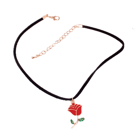 ItGirl Shop ACRILIC RED ROSE NECKLACE CHOKER Aesthetic Apparel Tumblr Clothes Soft Grunge