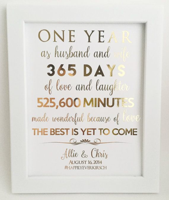 Gold foil print first 1st anniversary gift for husband for Gift for first wedding anniversary to wife