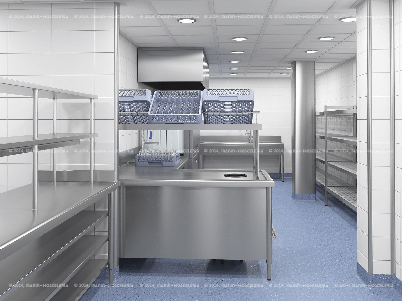 diseño de cocina industrial en # 3d y # cad con área de