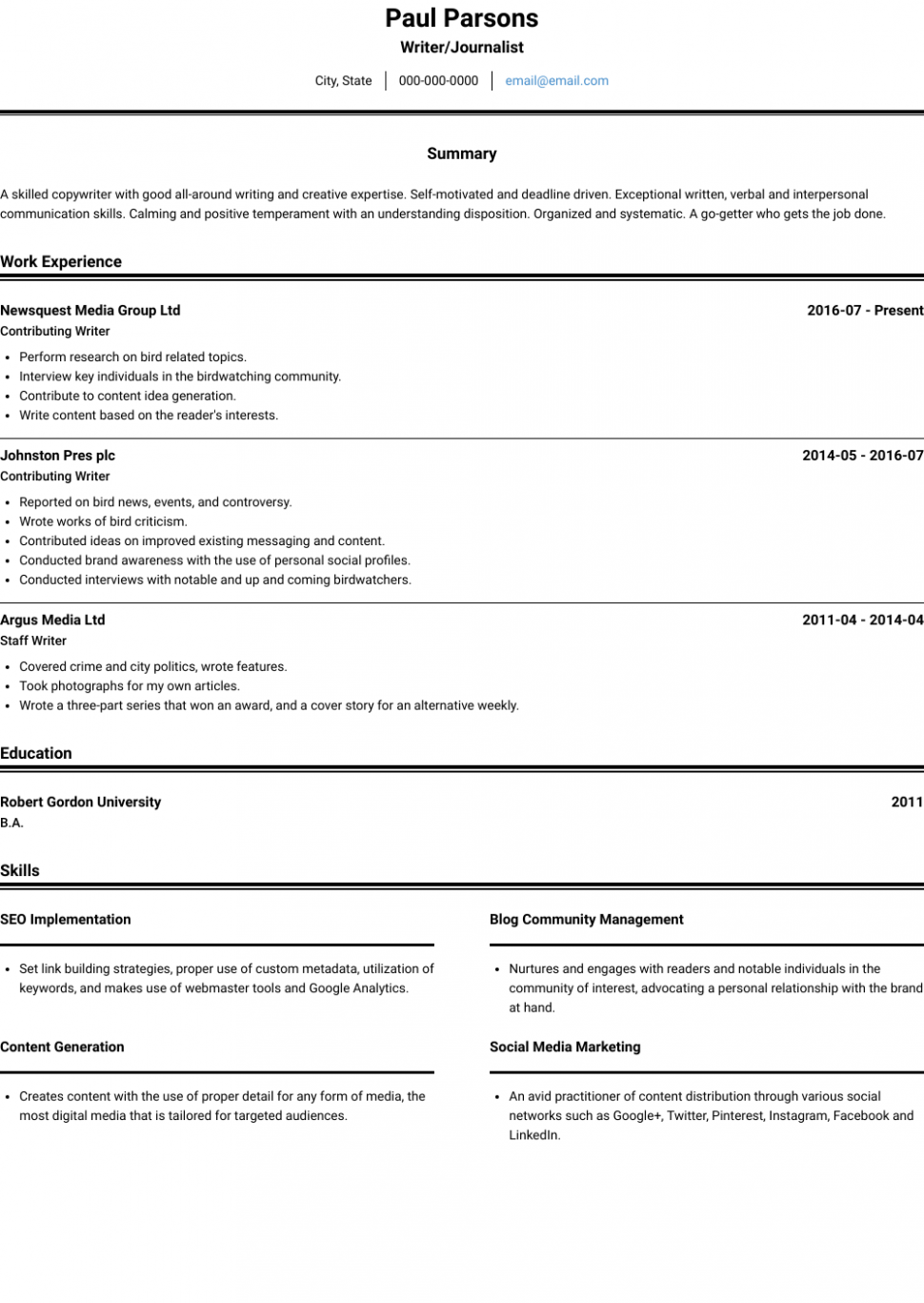 10 Pupil Journalist Resume