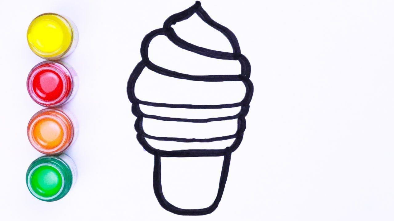 Menggambar dan mewarnai dua es krim | Cara menggambar lukisan ...