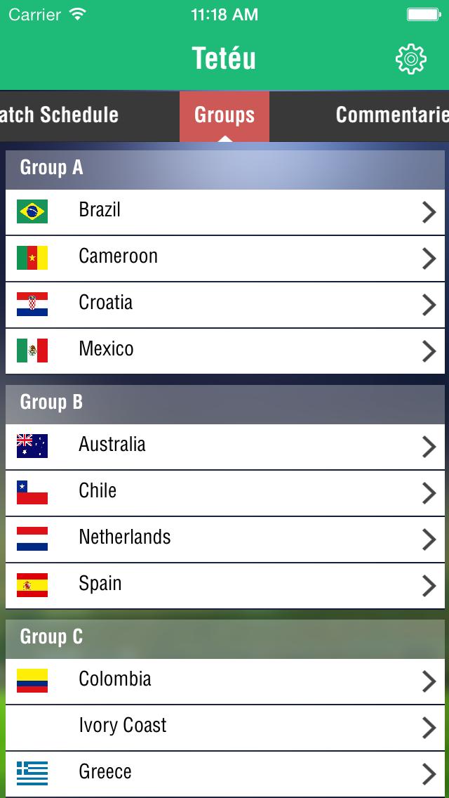 Brazil Football World Cup 2014 itune Application, Schedule