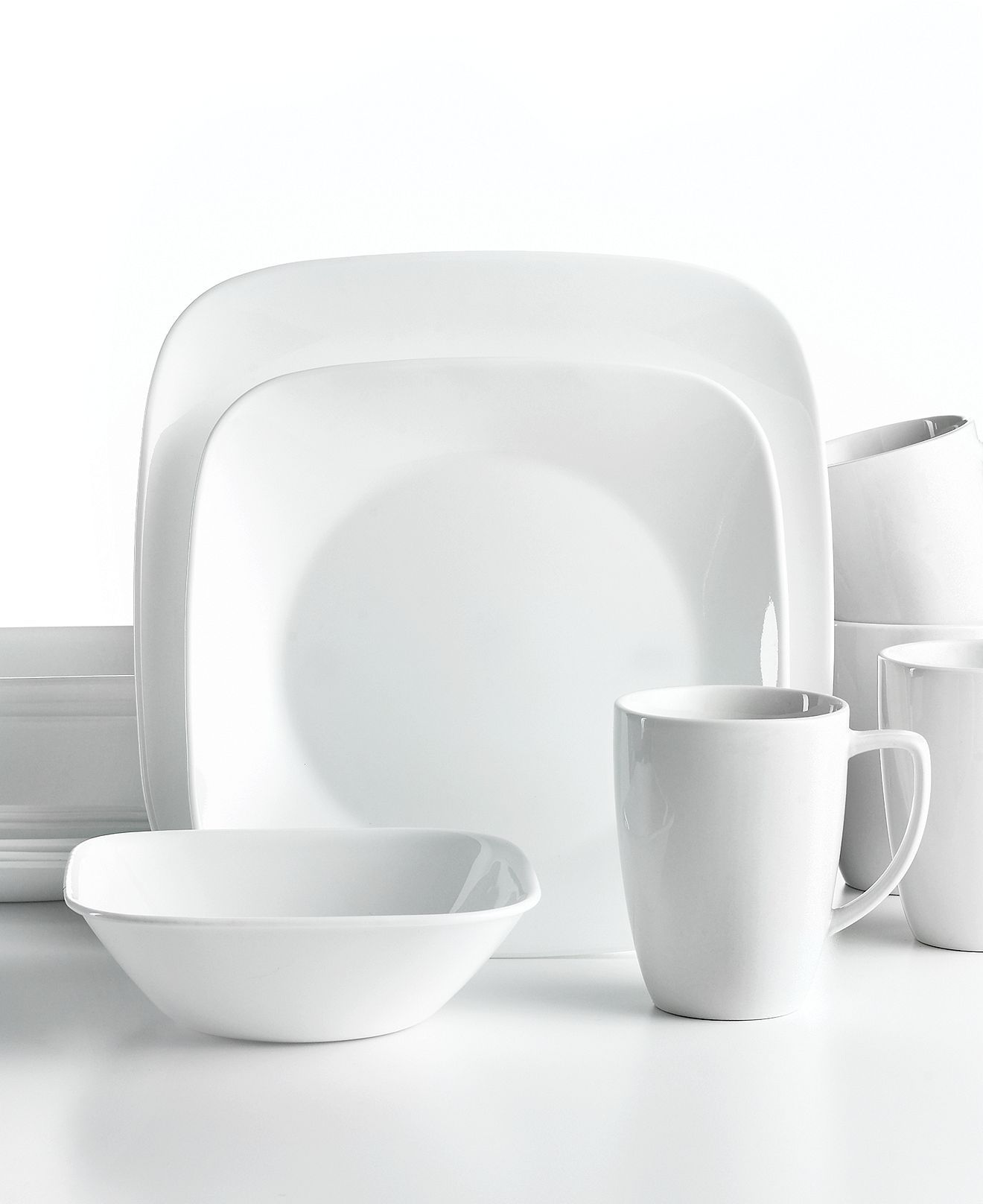 #Corelle Vivid White Square dinnerware. Ultra-sturdy plates bowls and mugs offer unparalleled versatility in shiny white dinnerware thatu0027s always in style!  sc 1 st  Pinterest & Corelle Vivid White Square dinnerware. Ultra-sturdy plates bowls ...