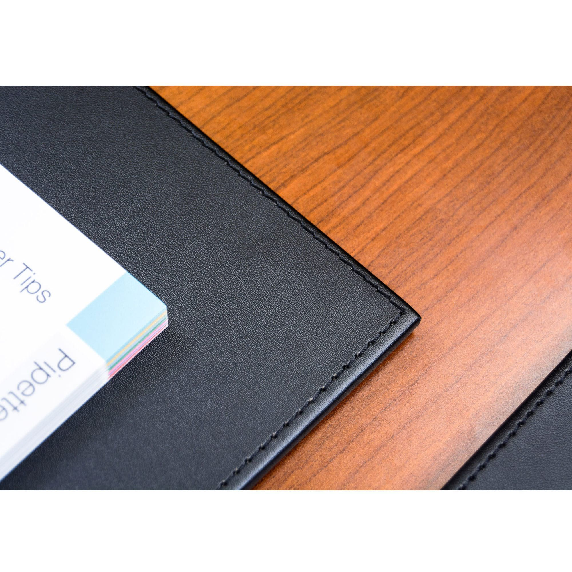Black Leatherette Conference Table Pad With Stitching - Leather conference table pads