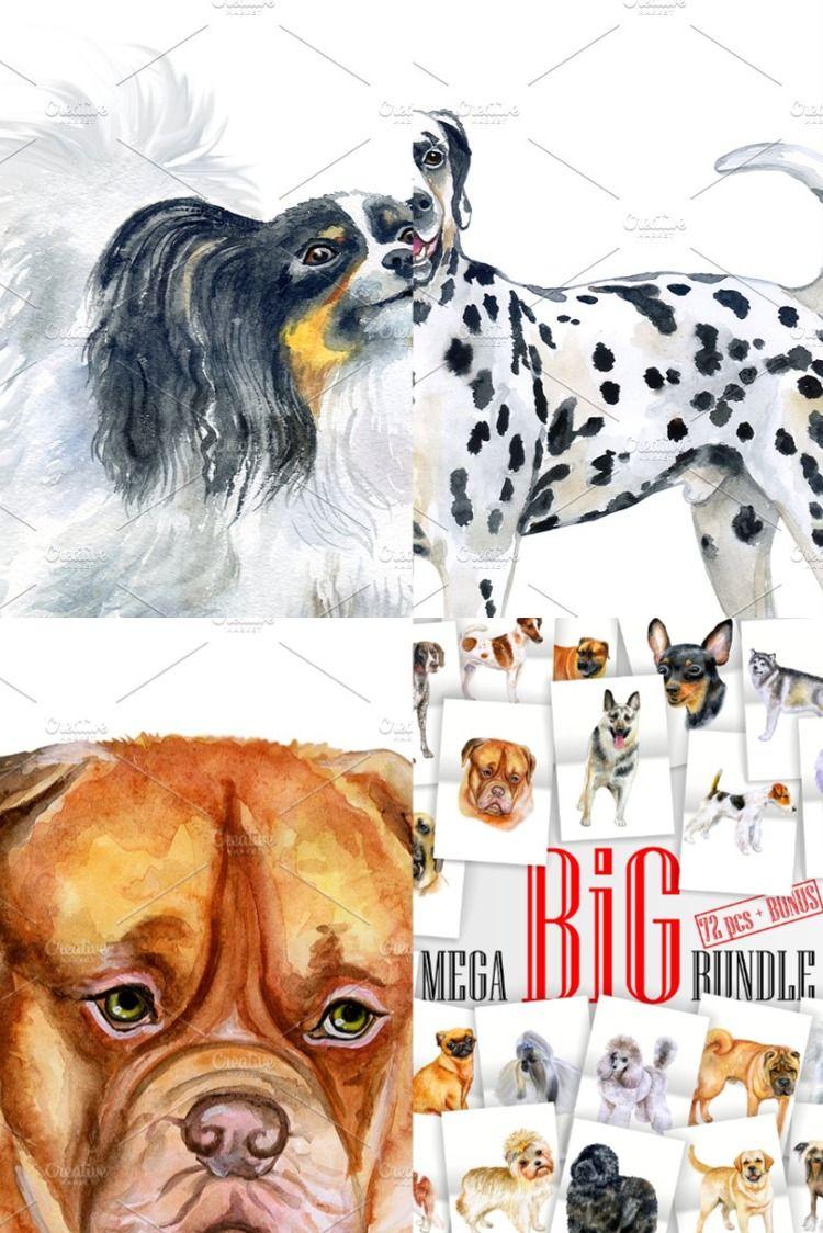 Watercolor Dogs Big Bundle Papillon Dog Fox Terrier Norwich