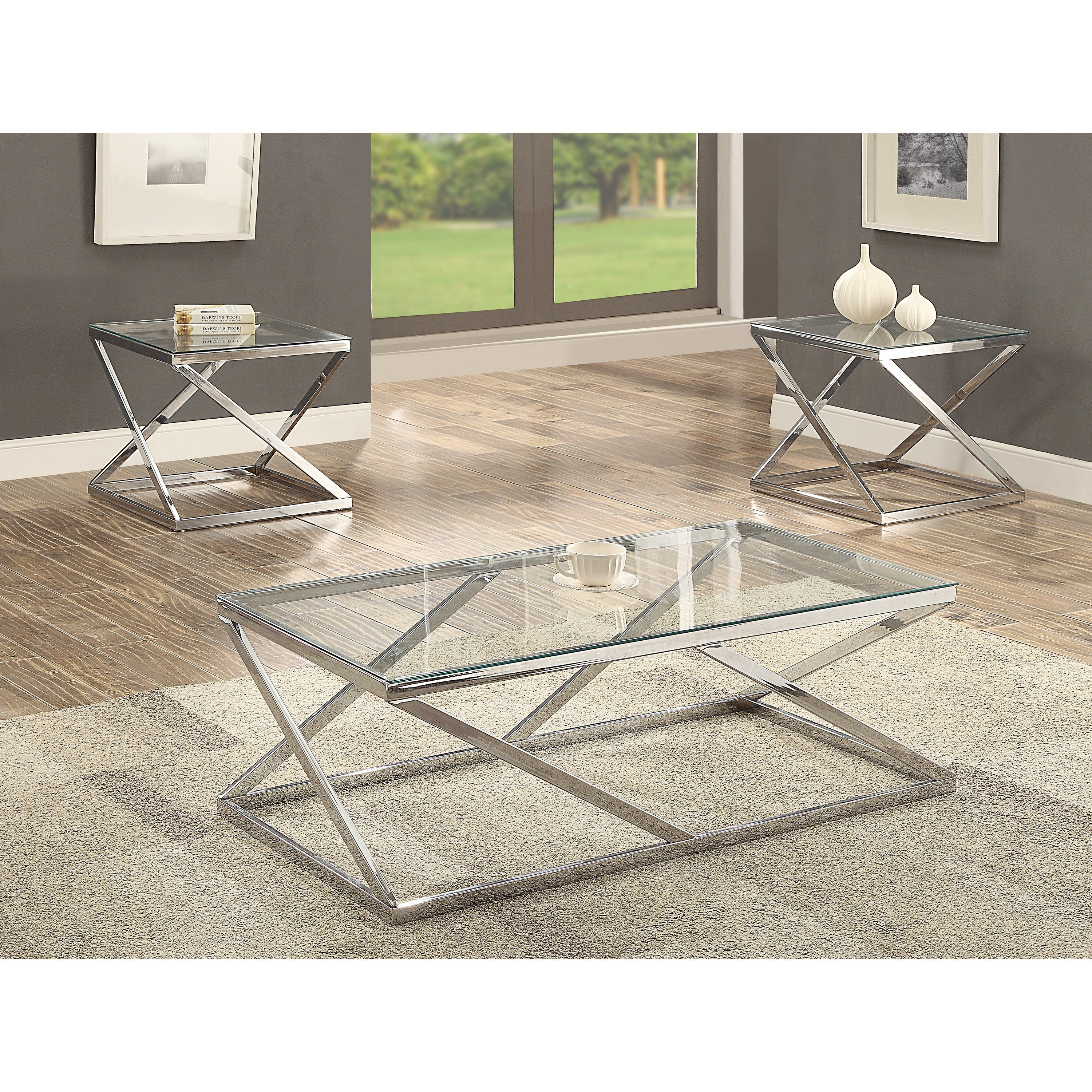 Chrome And Glass 3 Piece Coffee Table Set Rc Willey Furniture Store 3 Piece Coffee Table Set Coffee Table Setting Coffee Table [ 3000 x 3000 Pixel ]