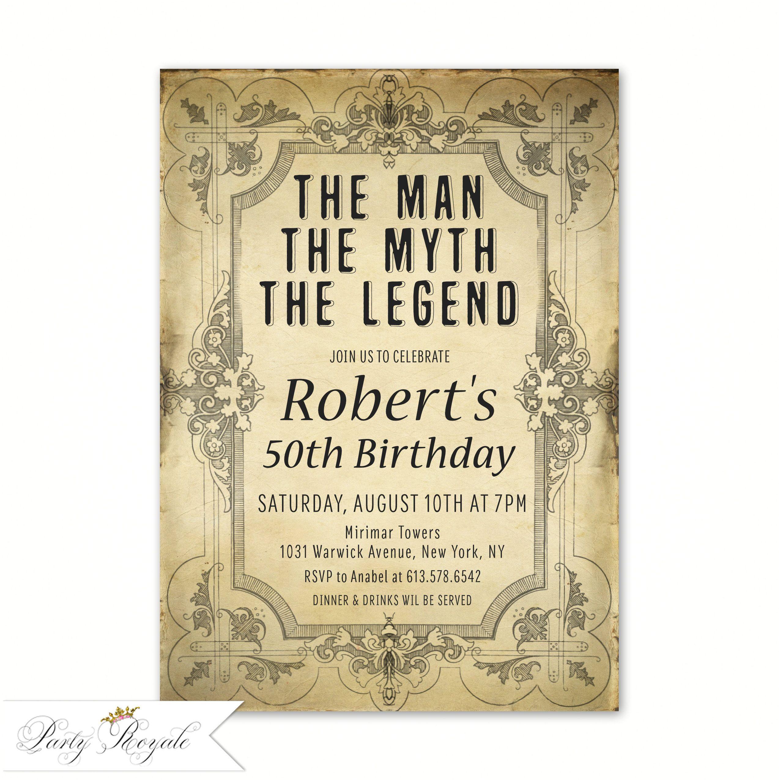 The Man The Myth The Legend Invitation Men S Birthday Etsy Vintage Birthday Invitations 60th Birthday Invitations 70th Birthday Invitations