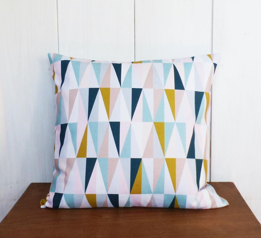 cushion cover 40 x 40 cm fabric mustard yellow triangles pattern ice blue rose oil. Black Bedroom Furniture Sets. Home Design Ideas