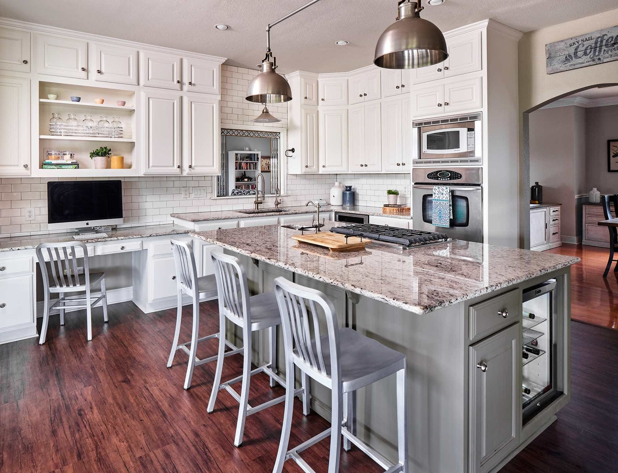 San Antonio Cabinet Painting Project Gallery See Our Work Paper Moon Painting In 2020 Grey Painted Kitchen Kitchen Island Cabinetry Hacienda Style Kitchen