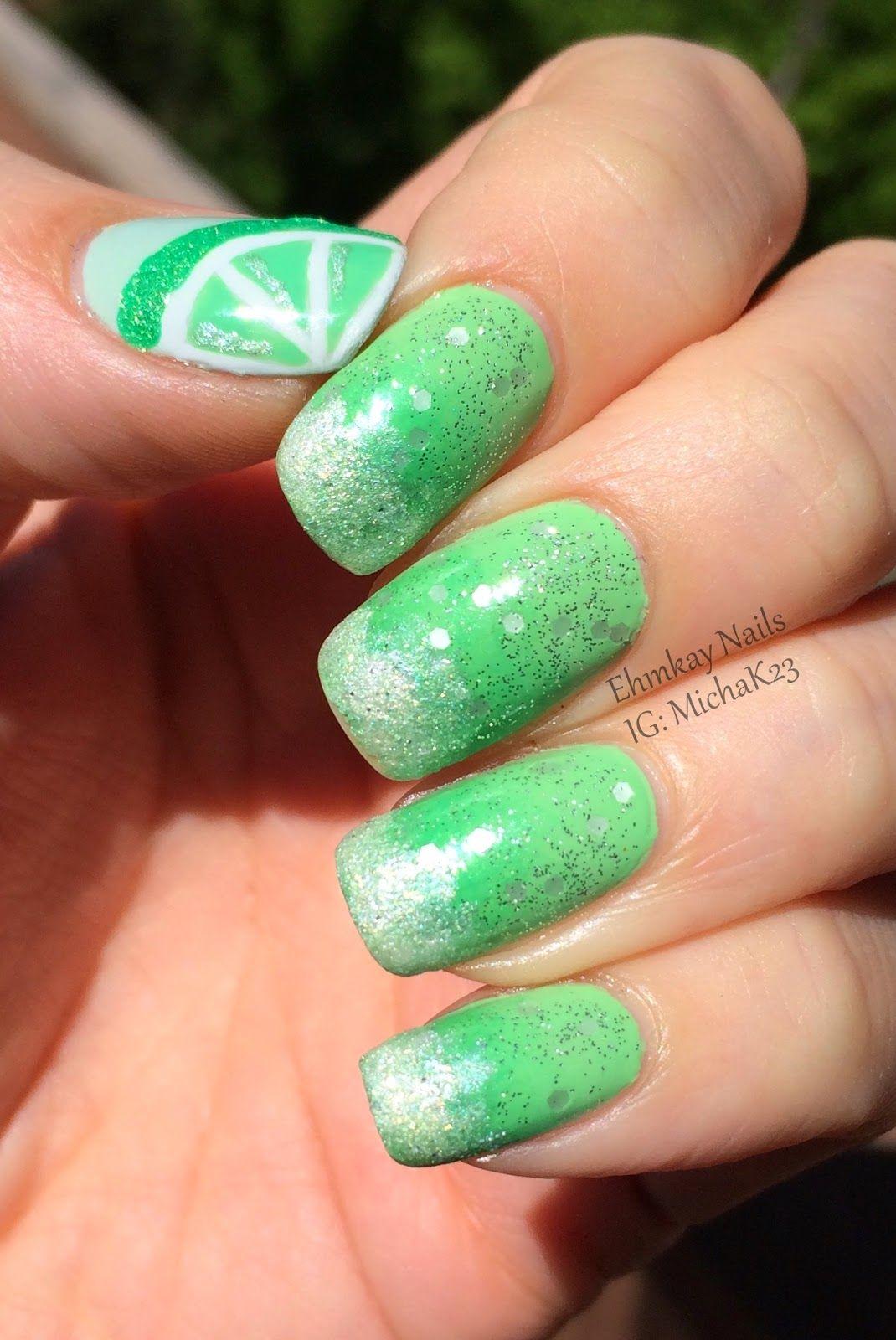 Cinco de Mayo Nail Art: Margarita Nail Art http://ehmkaynails ...