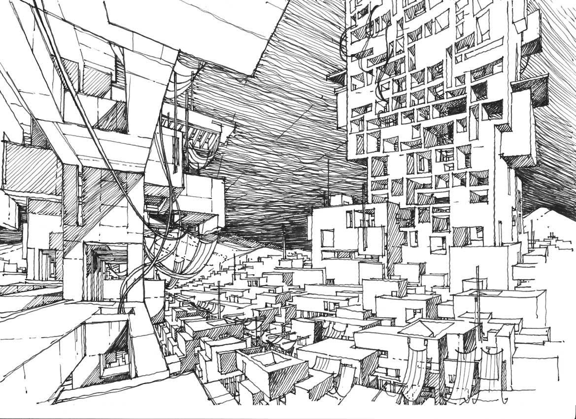 The Drawings Explore The Architectural Space Freely Without The Regular Constraints Of Actual Buildings Arhitekturnye Eskizy Arhitekturnyj Eskiz Arhitektura