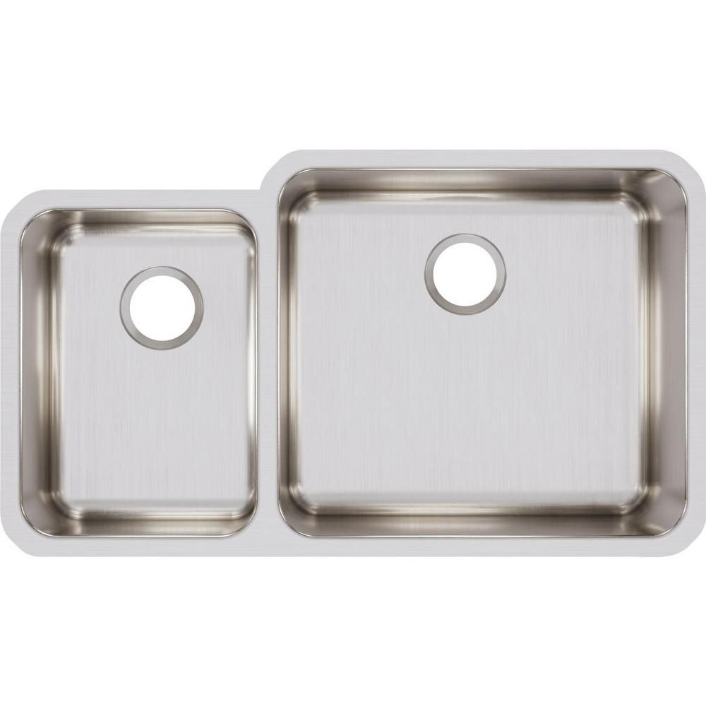 Elkay Lustertone Undermount Stainless Steel 35 In 40 60 Double Bowl Kitchen Sink Silver Double Bowl Kitchen Sink Stainless Steel Kitchen Steel