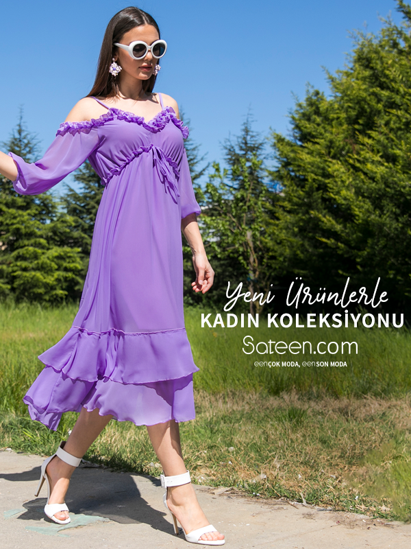104 1059 Lila Firfirli Omuz Acik Sifon Elbise Elbise Elbise Modelleri Sifon Elbise